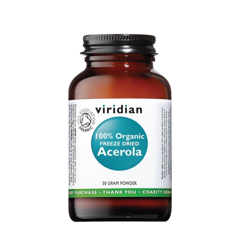 Organic Freeze Dried Acerola Vitamin C Powder, VIRIDIAN, 50g
