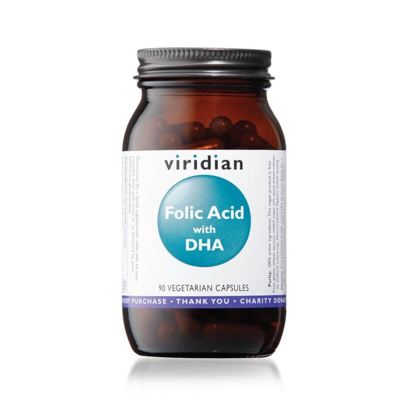 Folic Acid with DHA, VIRIDIAN, 90 capsules