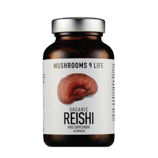 Reishi mushroom supplement capsules. MUSHROOMS4LIFE, 60 capsules