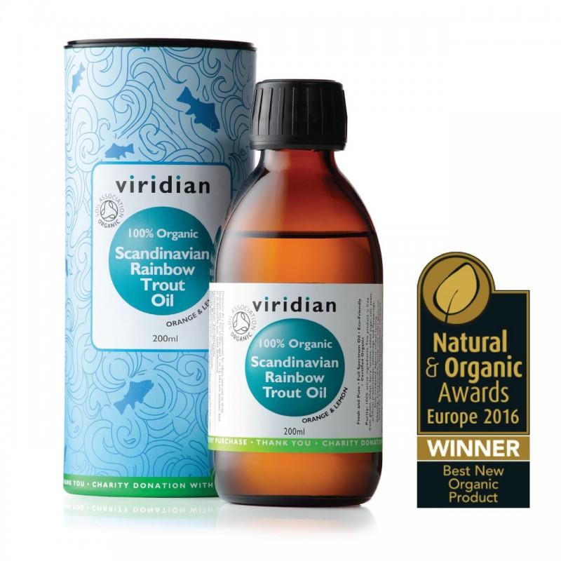 """Maisto papildas skysti ŽUVŲ TAUKAI """"100% Organic Scandinavian Rainbow Trout Oil"""", VIRIDIAN, 200ml"""