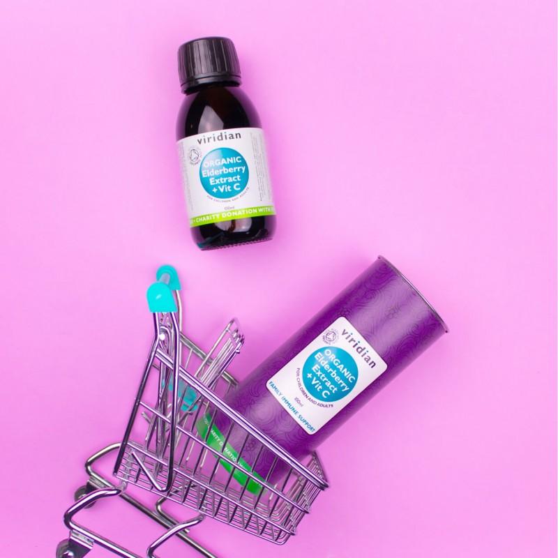 "Maisto papildas ""Organic Elderberry Extract + Vit C"", VIRIDIAN, 100 ml"